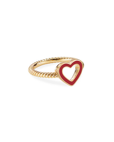 Cable Collectibles 18k Gold Heart Ring in Red, Size 6