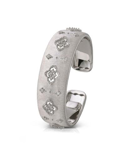 18k White Gold Diamond Cutout Cuff, 2cm