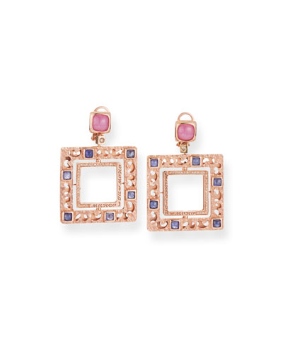 18k Rose Gold Square Sapphire Drop Earrings