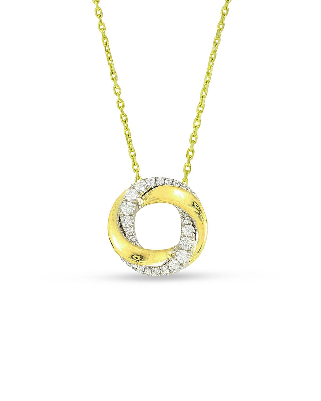 FREDERIC SAGE 18K Mini Half-Diamond Halo Pendant Necklace
