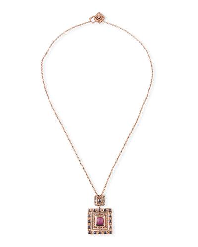18k Rose Gold Square Sapphire Pendant Necklace