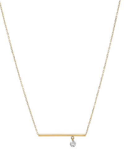 18k Floating Diamond & Bar Pendant Necklace