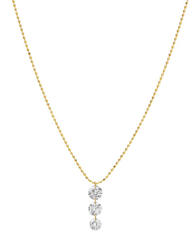 18k Cascading 3-Diamond Necklace