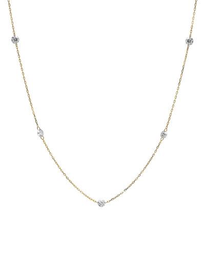 5-Floating Diamond Station Necklace w/ 18k Gold