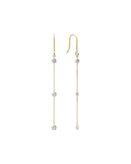 Nicha Jewelry 18k Gold 3-Floating Diamond Dangle Earrings