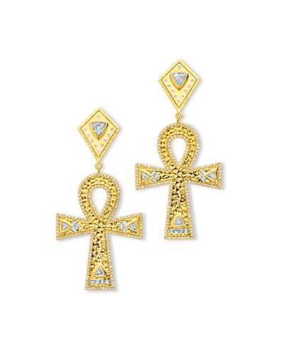 20k Gold Diamond Ankh Drop Earrings