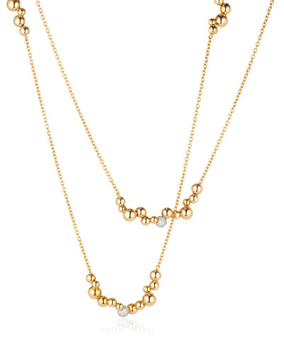Mini Atomo Diamond Necklace in 18K Gold, 42