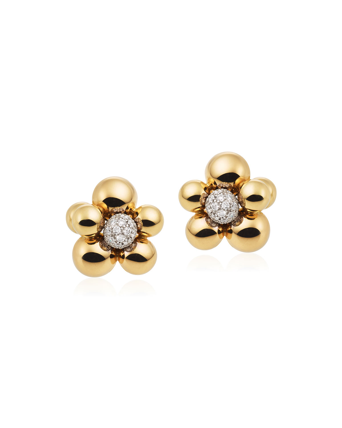 MARINA B Atomo Mini Diamond Cluster Earrings In 18K Gold