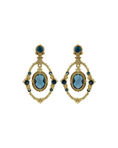 18k London Blue Topaz Oval Drop Earrings