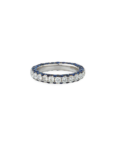 18k White Gold Sapphire & Diamond 3-Sided Ring