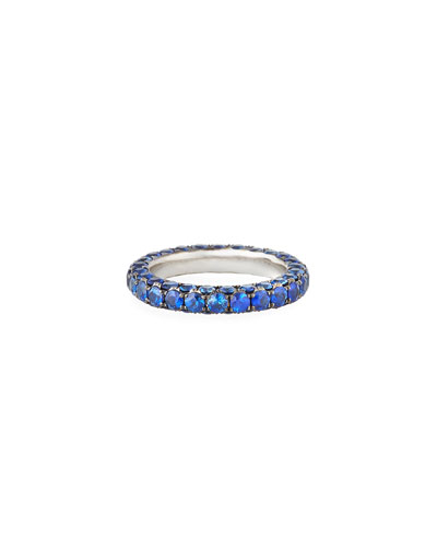 18k White Gold Blue Sapphire 3-Sided Ring, Size 7