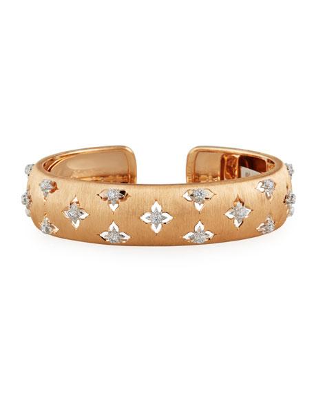 Buccellati Maci Giglio 18k White Gold Diamond Cuff, 1.5cm