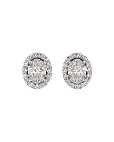 Positano 18k White Gold Oval Diamond Stud Earrings