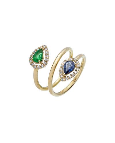 Positano 18k Diamond, Emerald & Sapphire Coil Ring, Size 6