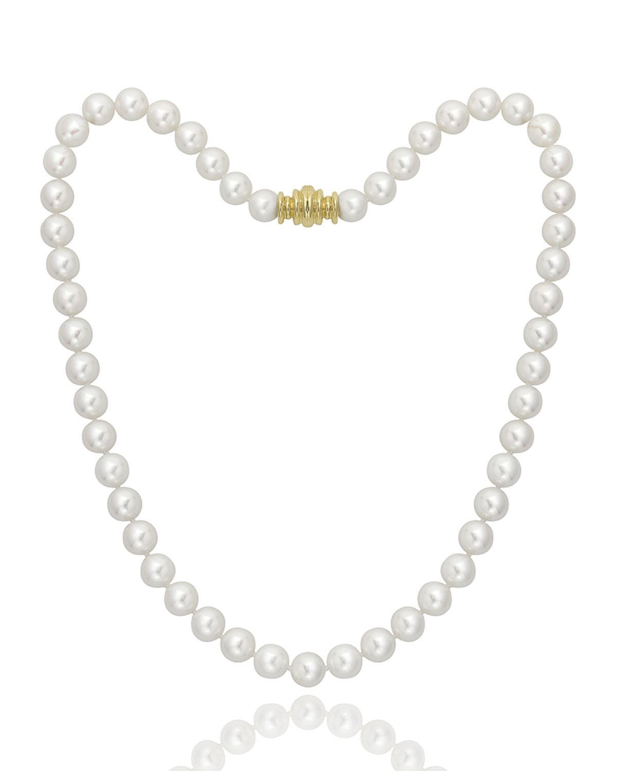 """16"""" Akoya Cultured 8.5mm Pearl Necklace with Yellow Gold Clasp"""