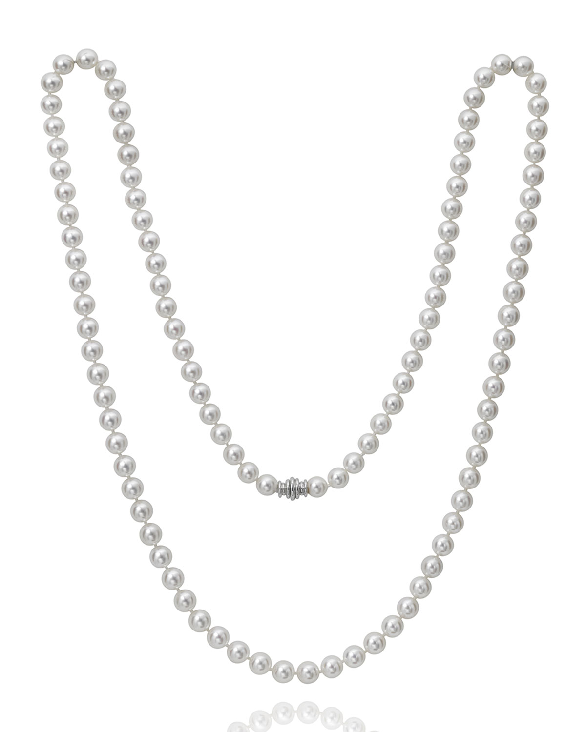 """36"""" Akoya Cultured 8.5mm Pearl Necklace with White Gold Clasp"""