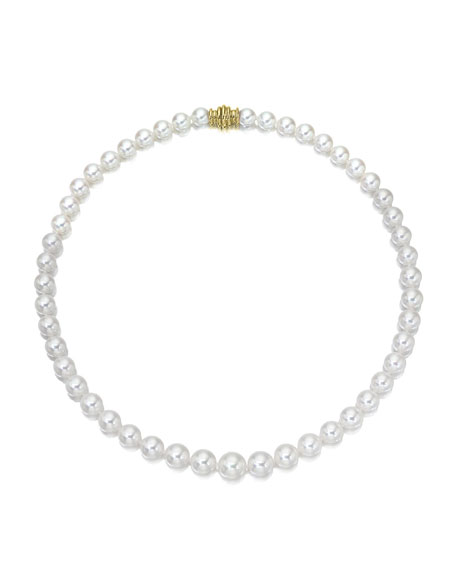 """Assael Akoya 16"""" Akoya Cultured Graduated 6.5-9.5mm Pearl Necklace with White Gold Clasp"""