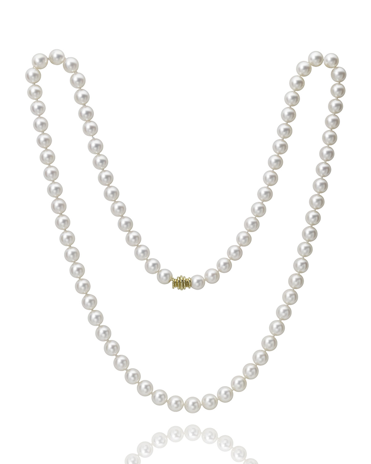 """32"""" Akoya Cultured 8.5mm Pearl Necklace with Yellow Gold Clasp"""