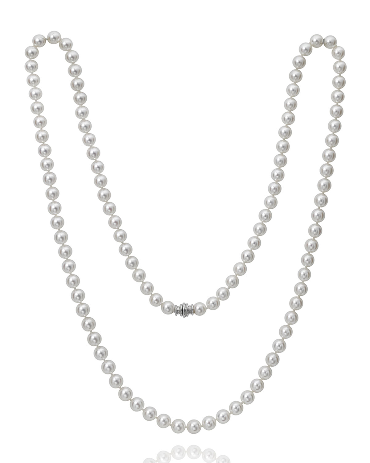 """36"""" Akoya Cultured 8mm Pearl Necklace with White Gold Clasp"""
