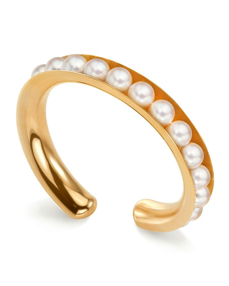 Assael 18k Gold Flexible Akoya Pearl Bangle