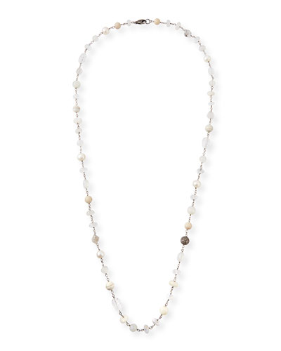 Long Pearl & Stone Necklace, 44