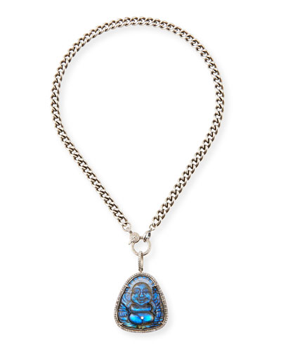 Buddha Labradorite Pendant Necklace w/ Diamonds