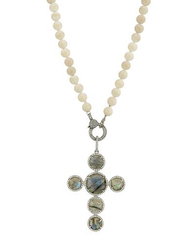 Coral, Labradorite & Diamond Cross Necklace