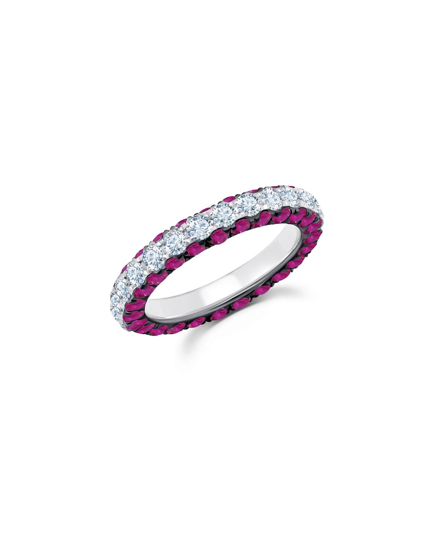 18k White Gold Ruby & Diamond 3-Sided Ring
