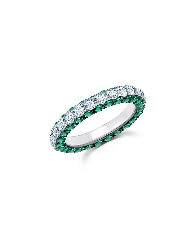 18k White Gold Emerald & Diamond 3-Sided Ring