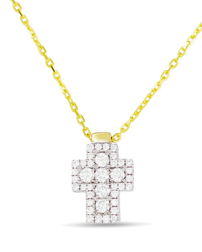 18k Firenze Diamond Cross Pendant Necklace