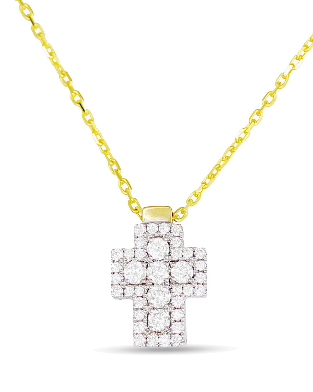 18k Firenze Diamond Cross Pendant Necklace