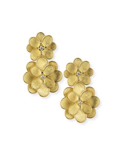 18k Petali Drop Earrings w/ Diamonds