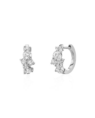 14k White Gold Diamond Huggie Hoop Earrings