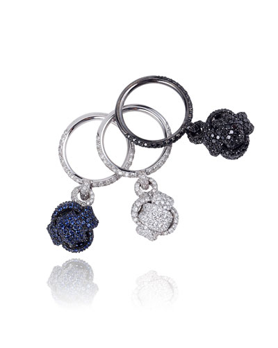Nodi Stackable 18k White Gold Pave Knot Rings, Set of 3