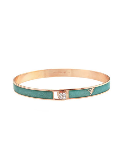 Spectrum 18k Rose Gold Paint & Diamond Bangle, Teal, Size 16