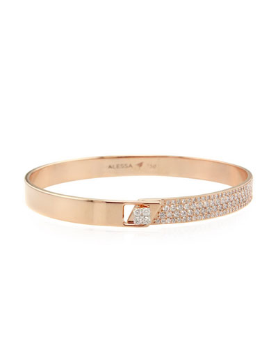 Spectrum 18k Rose Gold Bangle w/ Diamonds, Size 18