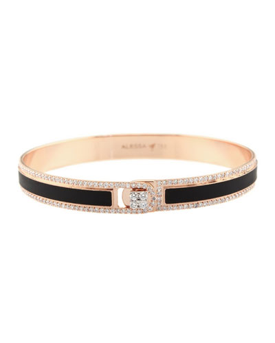 Spectrum Painted 18k Rose Gold Bangle w/ Diamonds, Black, Size 18
