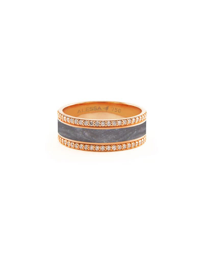 Spectrum Painted 18k Rose Gold Ring w/ Diamond Trim, Gray, Size 8.5