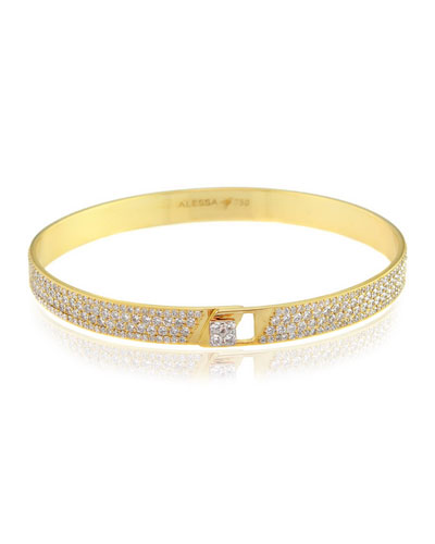 Spectrum 18k Yellow Gold Bangle w/ Pave Diamonds, Size 18