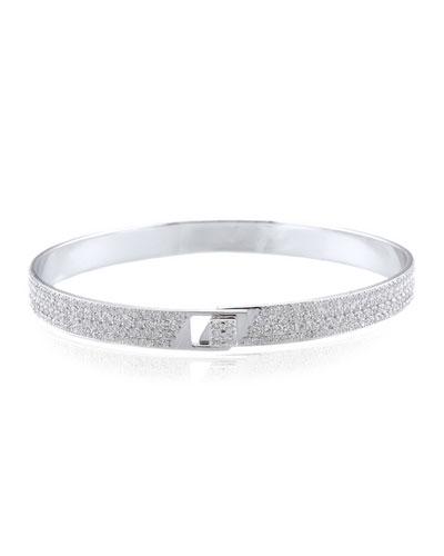 Spectrum 18k White Gold Bangle w/ Pave Diamonds, Size 18
