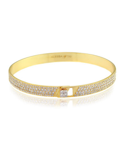 Spectrum 18k Yellow Gold Bangle w/ Pave Diamonds, Size 17