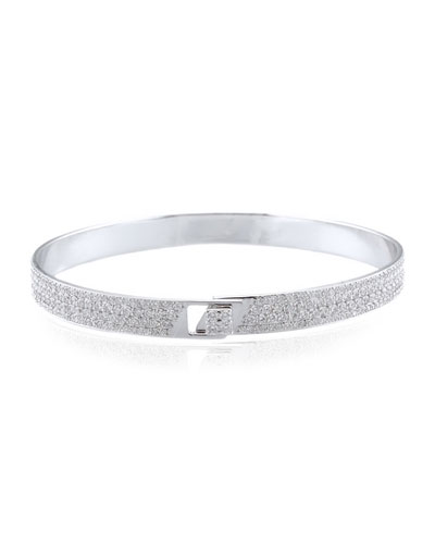 Spectrum 18k White Gold Bangle w/ Pave Diamonds, Size 17