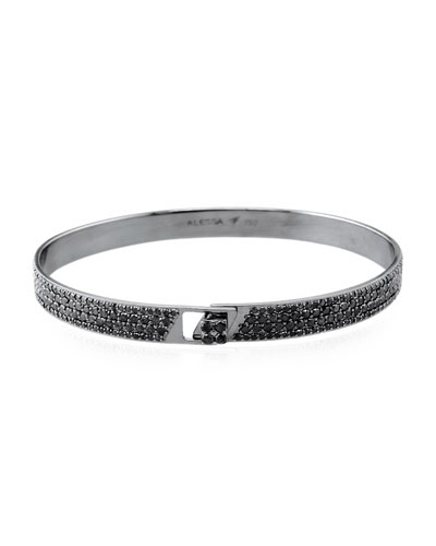Spectrum 18k Black Gold Bangle w/ Pave Diamonds, Size 17