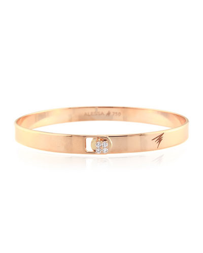 Spectrum 18k Rose Gold Bangle w/ Diamond Clasp, Size 18