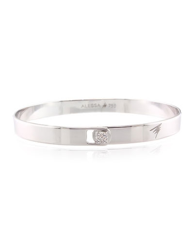 Spectrum 18k White Gold Bangle w/ Diamond Clasp, Size 16