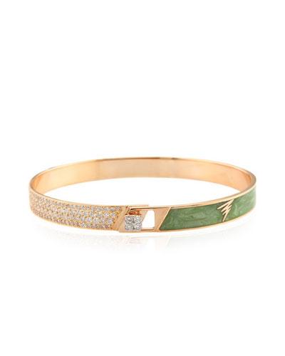 Spectrum 18k Rose Gold Painted Bangle w/ Diamonds, Green, Size 17