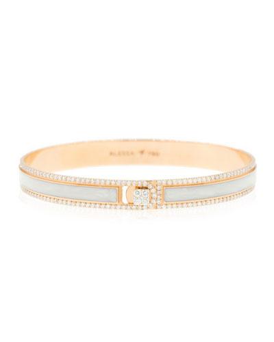 Spectrum Painted 18k Rose Gold Bangle w/ Diamonds, White, Size 16