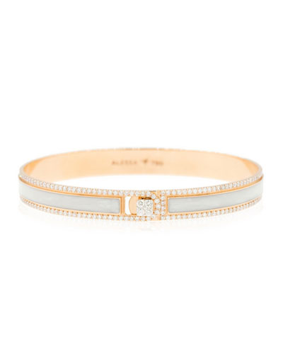 Spectrum Painted 18k Rose Gold Bangle w/ Diamonds, White, Size 17