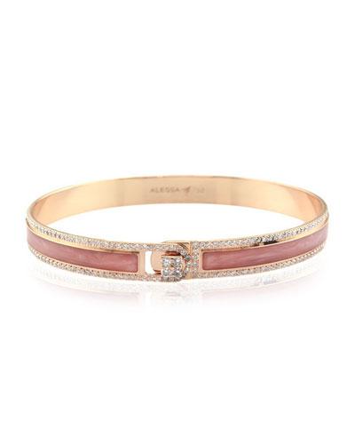 Spectrum Painted 18k Rose Gold Bangle w/ Diamonds, Pink, Size 18