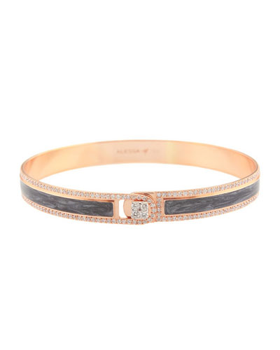 Spectrum Painted 18k Rose Gold Bangle w/ Diamonds, Gray, Size 18